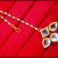 KC13,Daphne Gold Tone Kundan Stone Women Maang Tikka Earring Set For Women -2