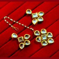 KC14, Classic Kundan Pearl Leaf Shaped Maang Tikka and Earring Set For Women