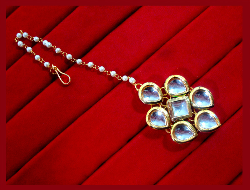 KC14, Classic Kundan Pearl Leaf Shaped Maang Tikka and Earring Set For Women-2