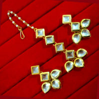 KC16, Daphne Pretty Kundan Carving Maang Tikka With Earrings Set, Best Gift For Women