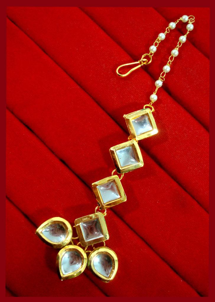 KC16, Daphne Pretty Kundan Carving Maang Tikka With Earrings Set, Best Gift For Women-2
