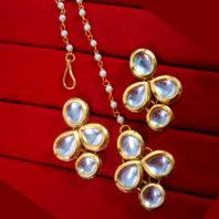 KC17, Daphne Ravishing Kundan Carving Maang Tikka With Earrings For Women