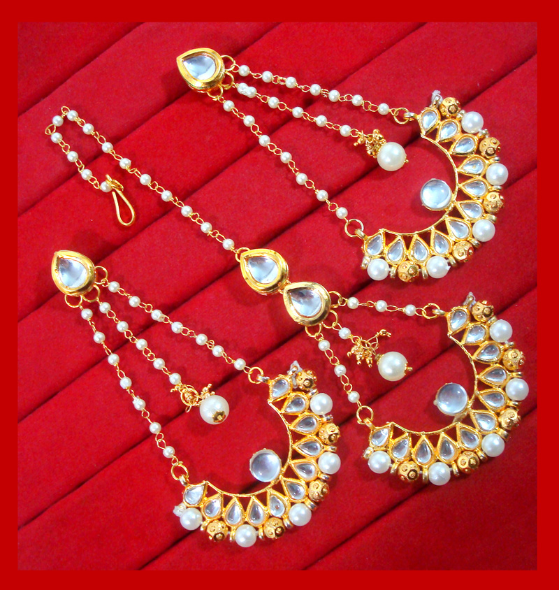 HC34EM, Traditional Gold Tone Kundan and Pearl Earring and Maang ...