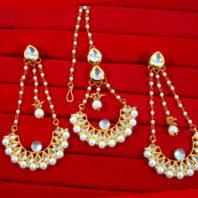 KC18, Daphne Traditional Kundan Carving Maang Tikka With Earrings For Women