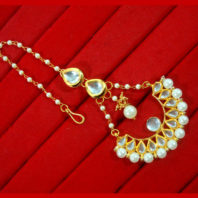 KC18, Daphne Traditional Kundan Carving Maang Tikka With Earrings For Women -4