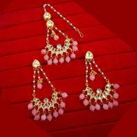 KC20 Classic Style Kundan Onyx Carving Earrings Maang Tikka Set For Women