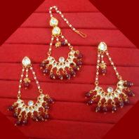 KC21 Stylish Kundan Onyx Beads Carving Earrings Maang Tikka Set For Women