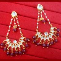 KC21 Stylish Kundan Onyx Beads Carving Earrings set For Women