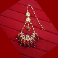 KC21 Stylish Kundan Onyx Beads Carving Maang Tikka Set For Women