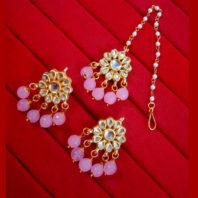 KC22 Latest Kundan Baby Pink Onyx Earrings Maang Tikka Set