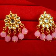 KC22 Latest Kundan Baby Pink Onyx Earrings Set
