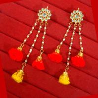 KE48, Daphne Designer Red & Yellow Circular Pom Pom Drop Earring For Women-1