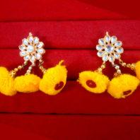 KE80 Bollywood Fashion Gold Plated Kundan Yellow Pom Pom Earring