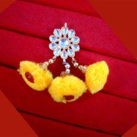KE80 Bollywood Fashion Gold Plated Kundan Yellow Pom Pom Earring -1