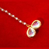 MAG73, Small Stylish Kundan Pearls Maang Tikka , Best Gift For Women