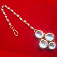 MAG74, Beautiful Indian Style Kundan Pearls Maang Tikka For Women