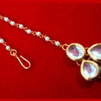 MAG74, Beautiful Indian Style Kundan Pearls Maang Tikka For Women -1