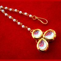 MAG75 Daphne Stylish Kundan Pearls Carving Maang Tikka , Best Gift to Women-1