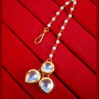 MAG77 Daphne Stylish Kundan Pearls Carving Maang Tikka, Best Gift to Women-1