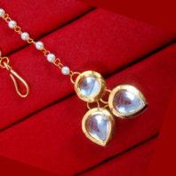 MAG77 Daphne Stylish Kundan Pearls Carving Maang Tikka, Best Gift to Women-2