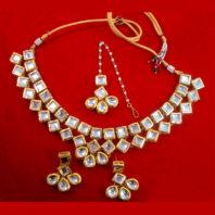 NC93 Bridal Kundan Necklace Set with Earrings and Maang Tikka For Wedding-1