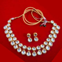NC94 Fashionable Kundan Necklace Earring Set For Bridal Dresses