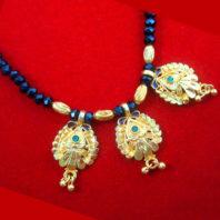 ME78 Daphne Golden Maharashtrian Mangalsutra With Black Beads Valentine Special