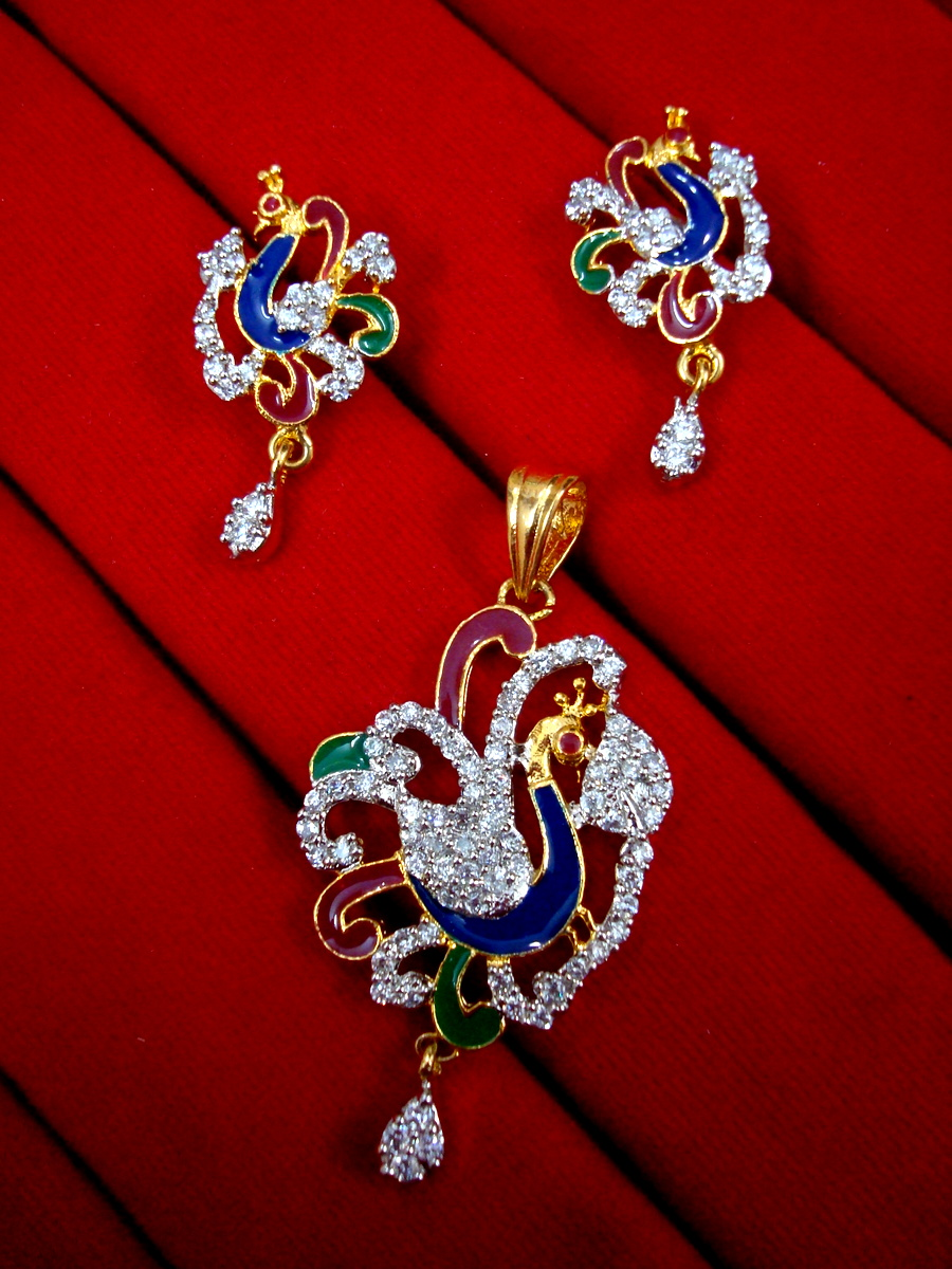 daphne gold plated peacock design pendant and earrings for women