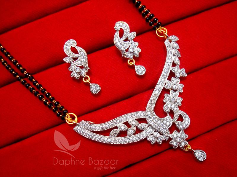 Ms70 Daphne Zircon Designer Flora Mangalsutra Set For Women