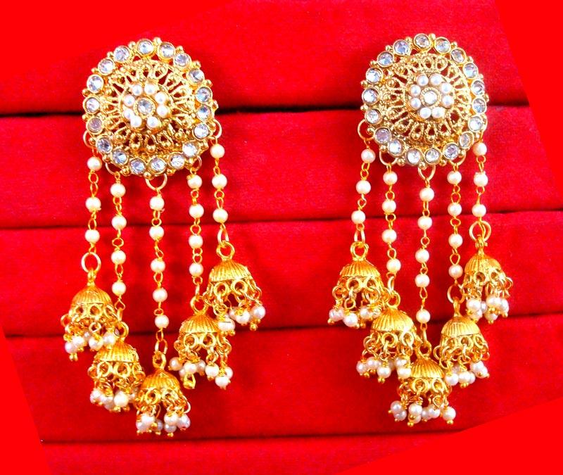 JM24 Gold Plated Devsena Bahubali Pearl Kundan Jhumka Earring For ...