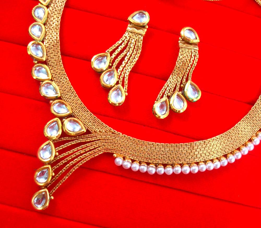 1b31a02a2c1c7 NA96 Daphne Golden Designer Wedding Wear Necklace With Earring Set ...
