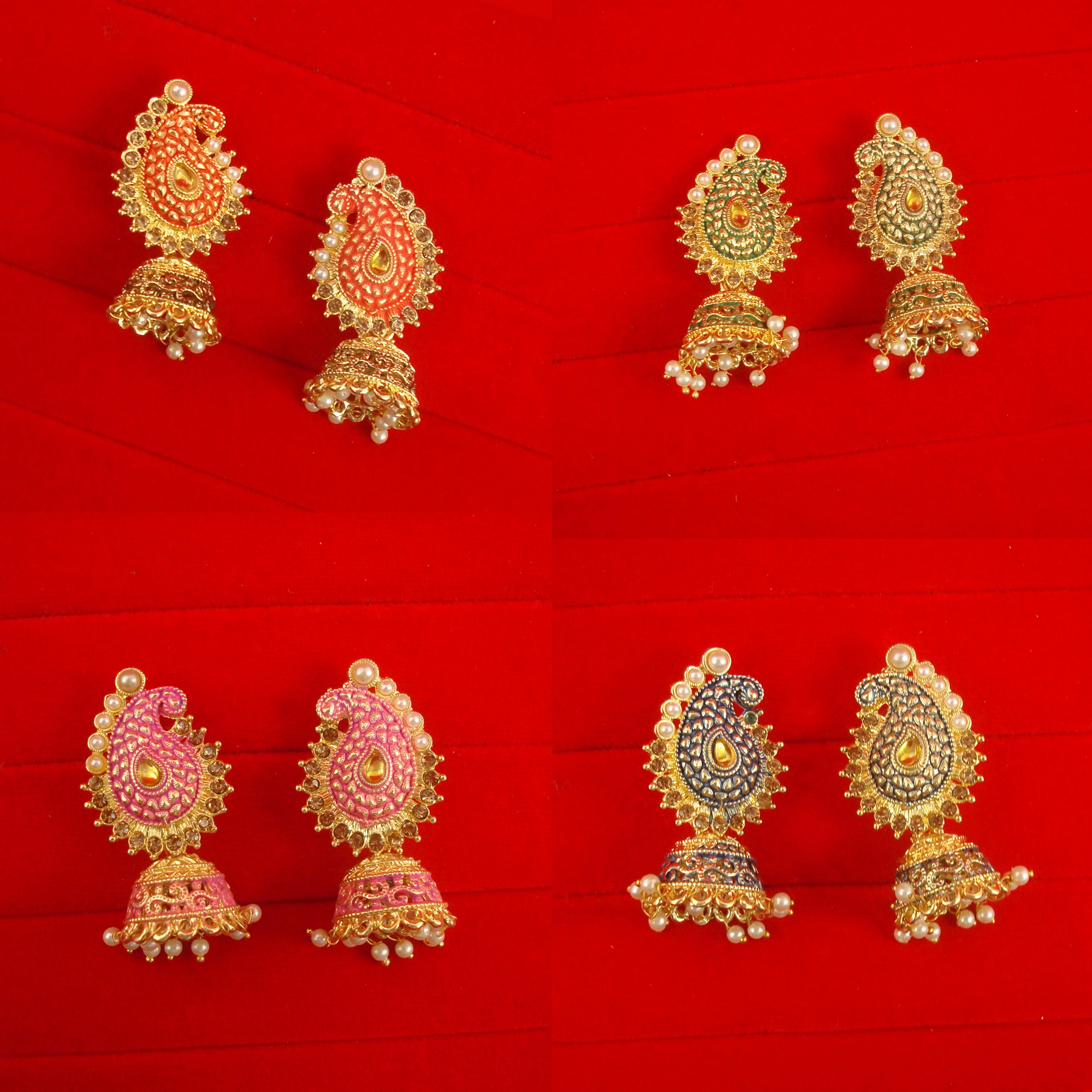 Details About Daphne Wedding Wear Designer Leaf Shape Jhumki Earring For Girls